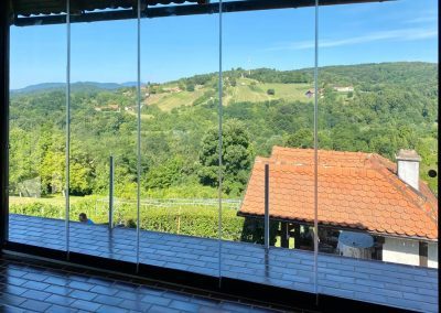 5. panoramske staklene klizne stijene, zatvaranje terase